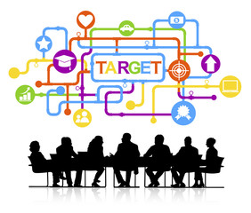 Group of Business People with Target Concept