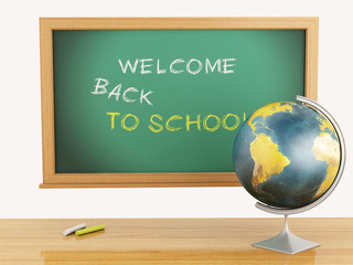 School education concept. Blackboard with welcome back to school