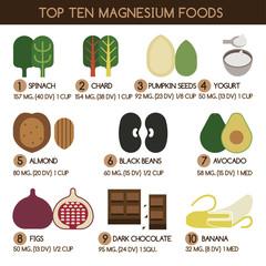 Top ten magnesium foods vector
