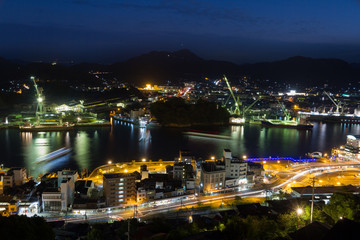 Night view on the harbour in Onomichi city