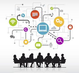 Group of Business People Meeting with Technology Symbol