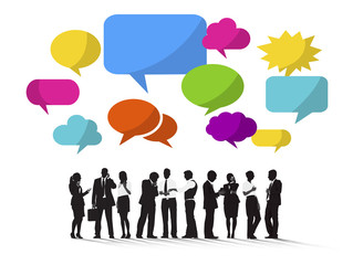 Group of Business People with Speech Bubble