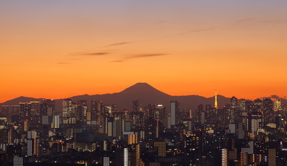 Tokyo city in evening with Tokyo sky tree and Fuji mountain