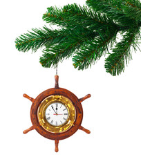 Christmas tree and clock in wood helm