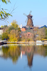 The Windmill Autumn River Reflection