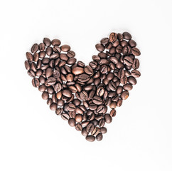 coffee bean heart shape on a white background