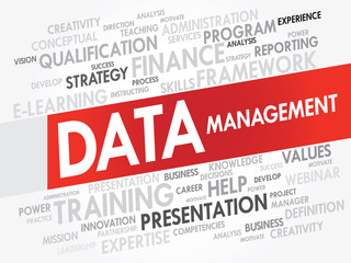 Word cloud of DATA Management related items, vector