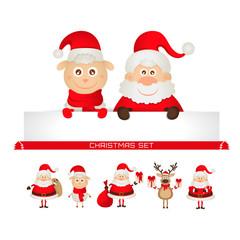 christmas set santa claus, Christmas reindeer, sheep
