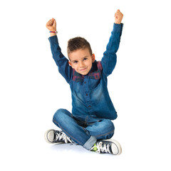Lucky kid over white background