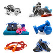 fitness equipment objects isolated on white - 74178955