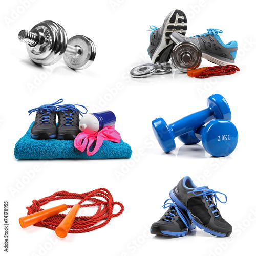 fitness equipment objects isolated on white