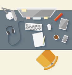 Concept of modern business workspace in flat design