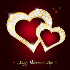 Valentines Day card - abstract golden hearts with diamonds