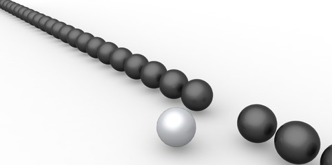 Many identical 3d black spheres and only one silver