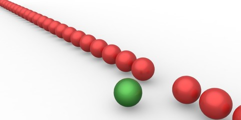 Many identical 3d red spheres and only one green