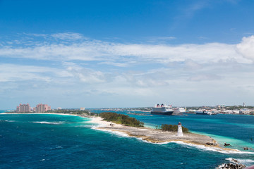 Bahamas Lighthouse with Nassau and Resort in Background