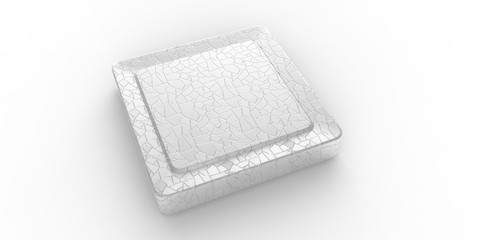 Empty silver square button cracked surface