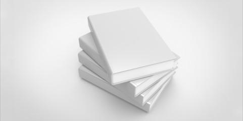 twisted white Four books on plain background
