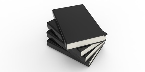 Four twisted black cover books on plain background