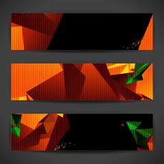 Set of bright polygonal geometric banners for modern design