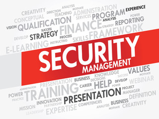 Word cloud of Security Management related items, vector