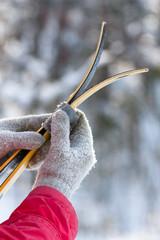 Cross country ski in women's hands