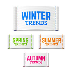 Spring, summer, autumn (fall) and winter trends labels