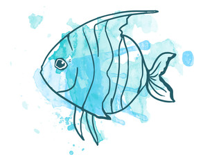 watercolor illustration. blot watercolor. fish