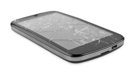 mobile smartphone with broken screen