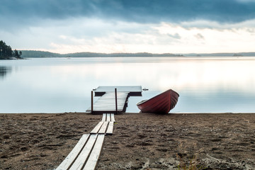 Peaceful place, lake, boat and jetty