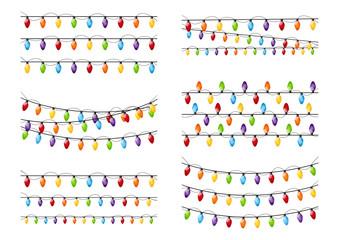 Set of color Christmas light bulbs