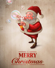 Santa Claus and the bubbles soap Greeting card