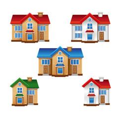 House buildings in vector
