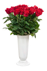 Flower Bouquet from Red Roses in White Vase Isolated.