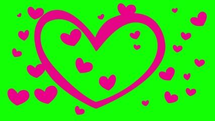Coeurs sur fond vert