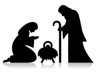 Heilige Familie, Joseph, Maria, Jesus, schwarz, Vektor
