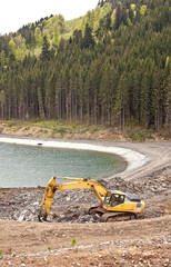 Construction of an artificial lake in Bukovel