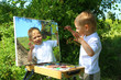 funny kid draws a picture on the mirror - 74183510