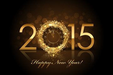 Vector 2015 Happy New Year background with gold clock