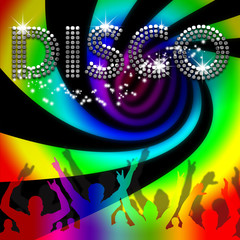 Disco poster rainbow spinning vortex