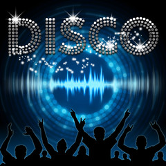 Disco poster blue graphic digital sound