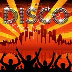 Disco poster red city skyline sunburst
