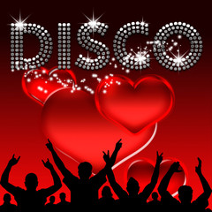 Disco poster valentine's day glass hearts
