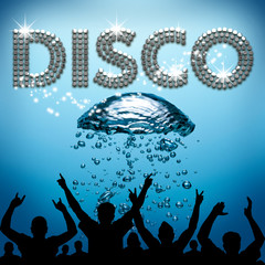 Disco poster underwater diving bubbles