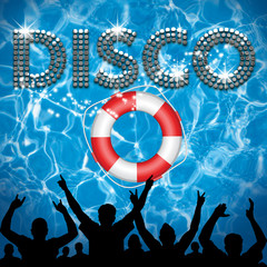 Disco poster lifebuoy pool party