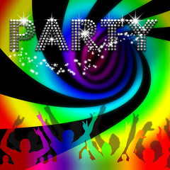 Party poster rainbow spinning vortex