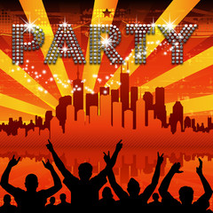 Party poster red city skyline sunburst