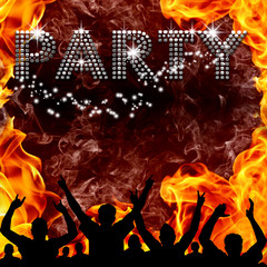 Party poster hot devilish flames