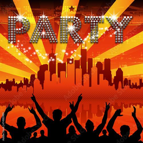 Party poster red city skyline sunburst