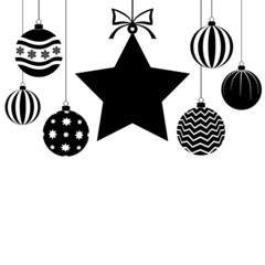 Christmas card with baubles and star